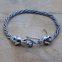 Bracelet snake tête de mort vieilli