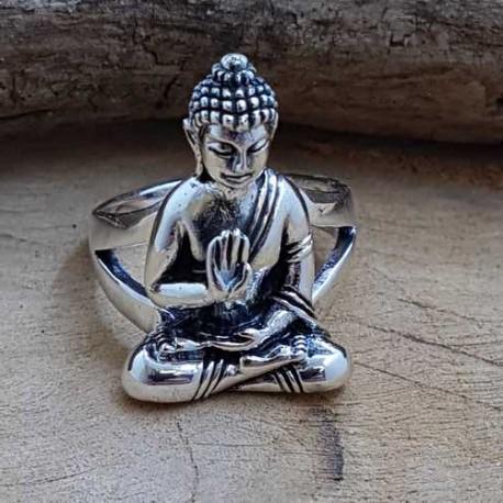 bague en argent bouddha