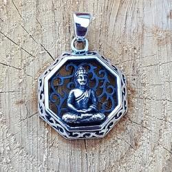 Pendentif Bouddha hexagonale en argent 925