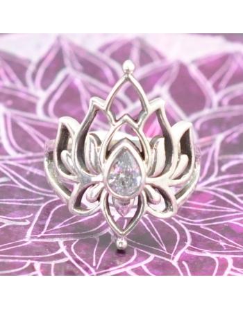 Bague  Lotus zircon Blanc