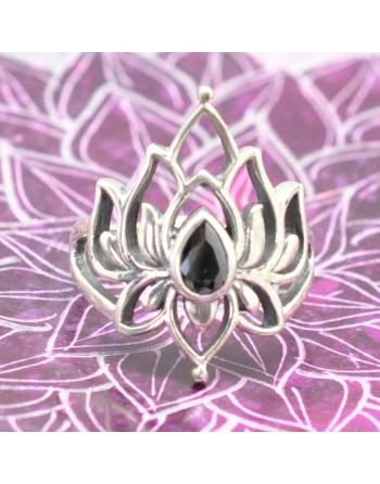 Bague Lotus  onyx noir